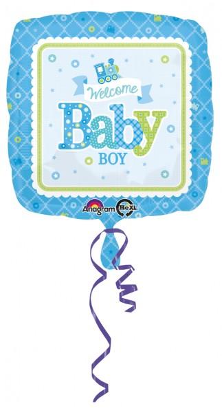 Ballon aluminium carré Welcome Baby Boy