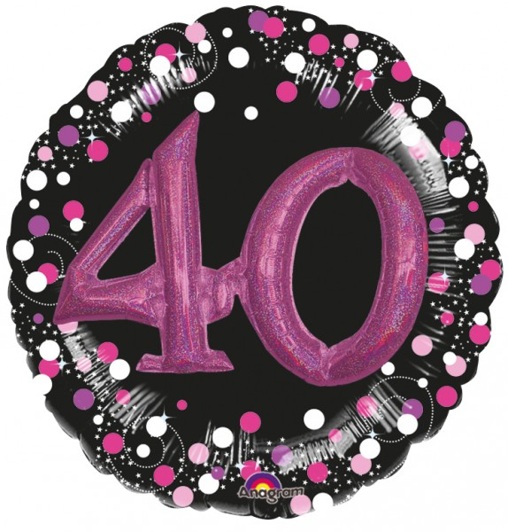 Pink 40th Birthday foil balloon 91cm