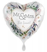Herz Folienballon Mr und Mrs 45cm
