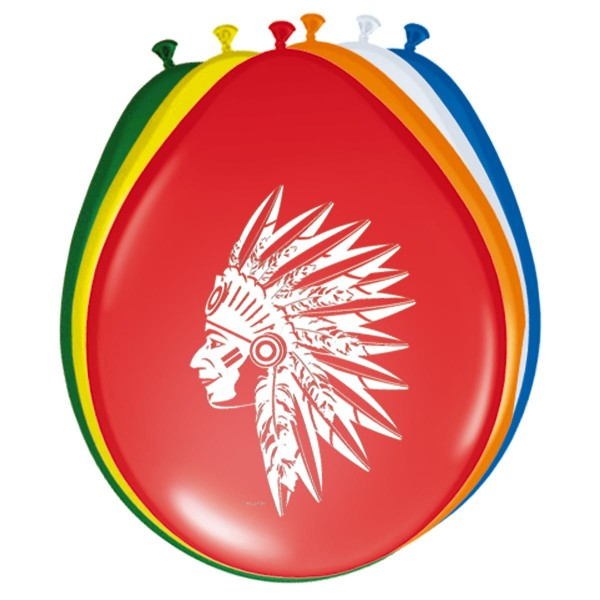 8 bunte Indianerparty Ballons 30cm