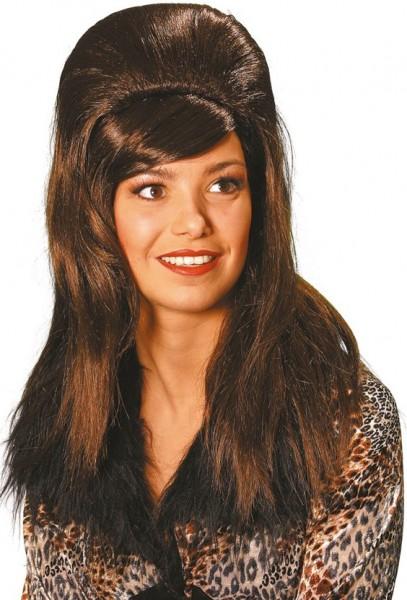 Perruque brune Anja années 70