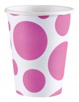 8 Süße Punkte Pappbecher pink 266ml