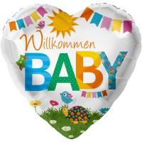 Bunter Herz-Folienballon Willkommen Baby