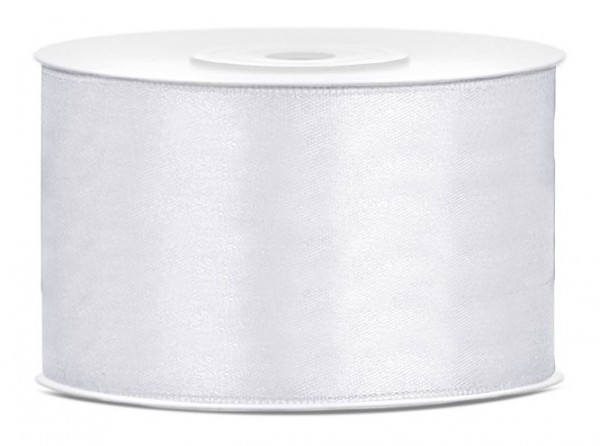 25m satin gift ribbon white 3.8cm