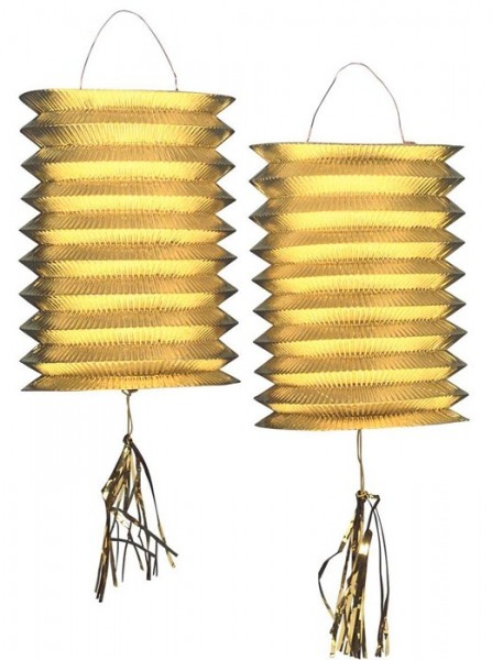 2 golden metallic train lanterns 25cm