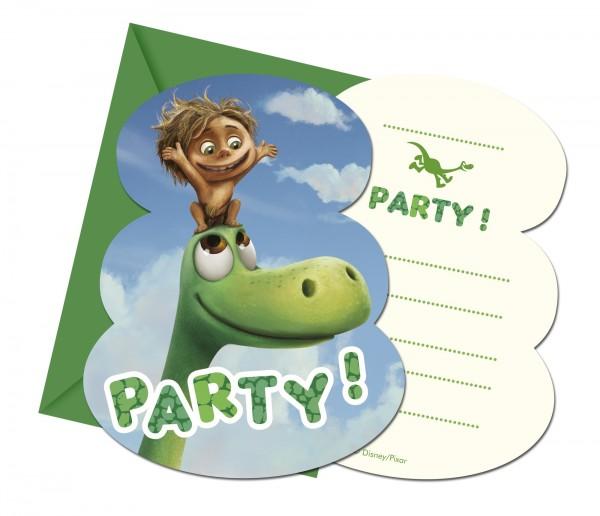 6 Arlo & Spot Dinosaurier Einladungskarten 9,5 x 12,5cm