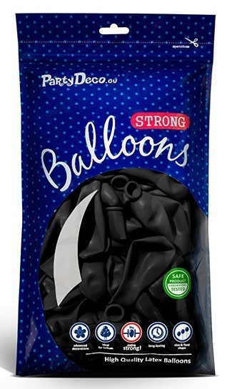 10 party star balloons black 27cm