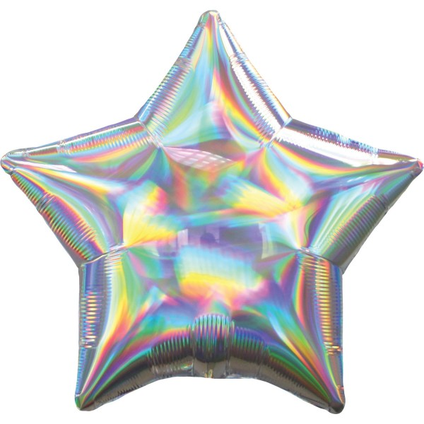 Holographic star balloon silver 45cm