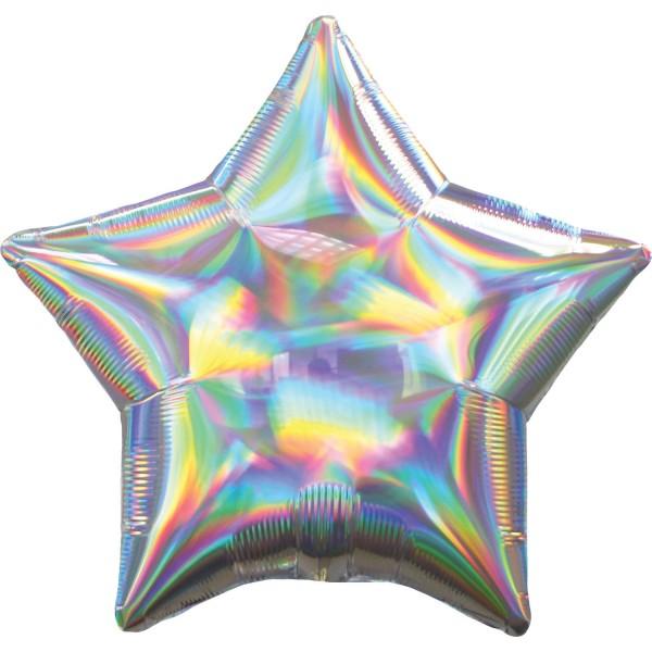 Ballon étoile holographique argent 45cm