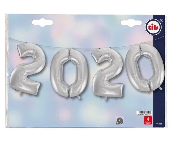 Silvester Folienballon Set 2020 silber 1,05m