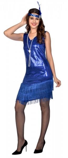 Disfraz de charlestón azul royal para mujer