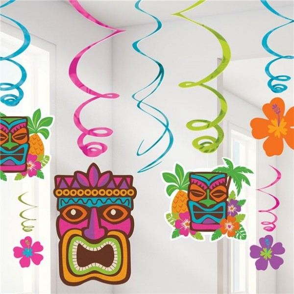 12 luau party spiral hangers 55cm