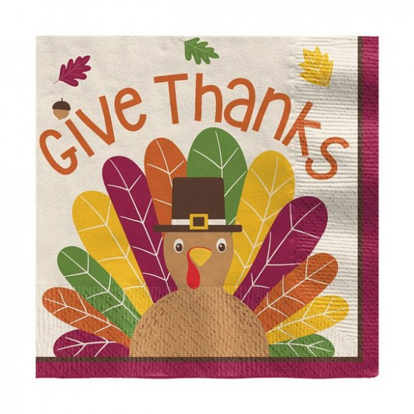 16 petites serviettes de table pour Thanksgiving