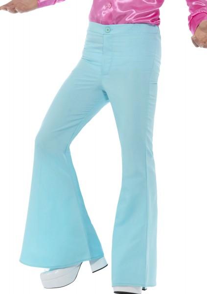 Pantalon évasé homme bleu glace style années 70