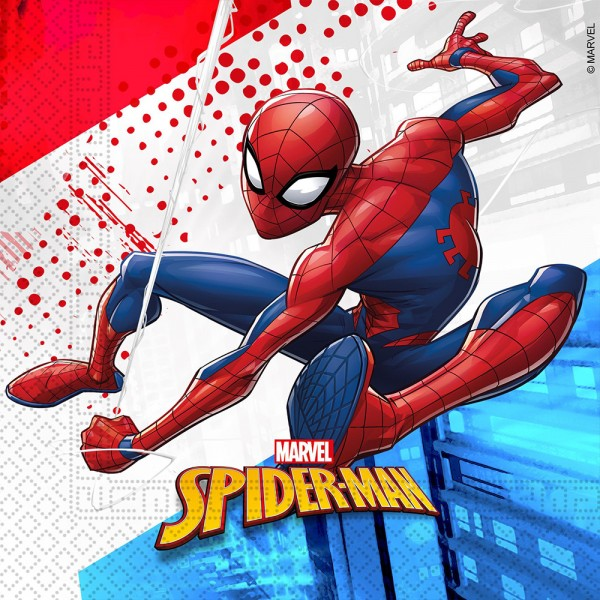 20 servilletas Spiderman Super Hero 33cm compostables