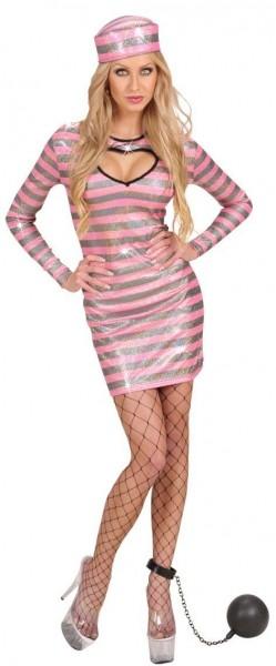 Sträflings Dame Kostüm Pink