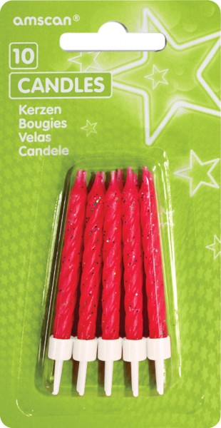 Glittering cake candles red Including holder 10 pieces
