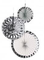 3 Shiny Silver Papierrosetten
