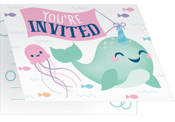 8 Narwal Party Einladungskarten
