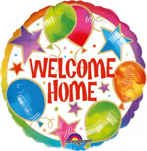 Round welcome home foil balloon