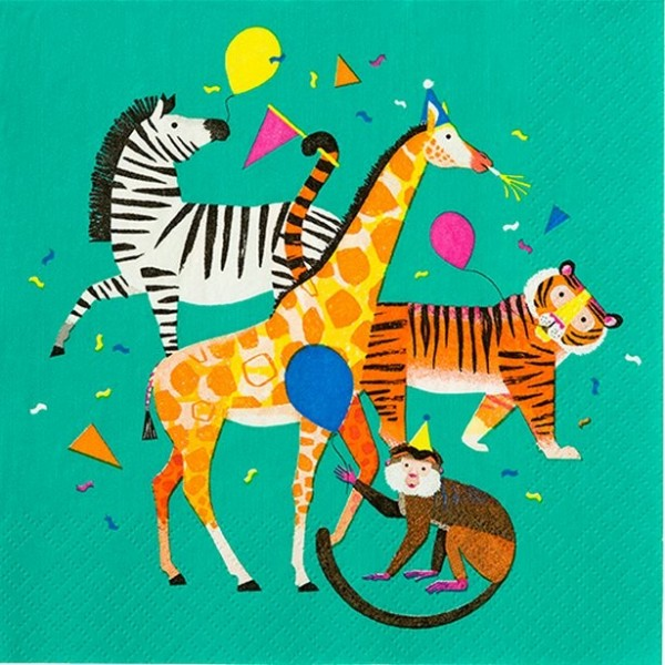 12 Birthday Animals Servietten 33cm