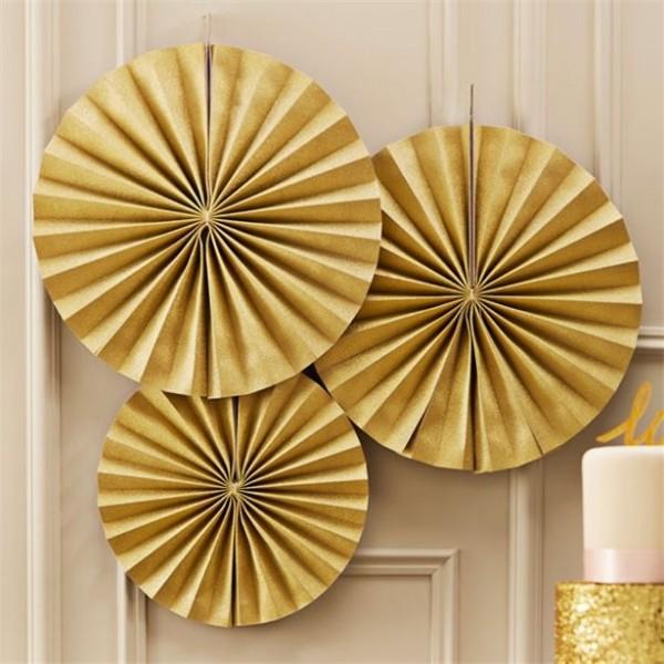 3 Royal Wedding Papierrosetten gold