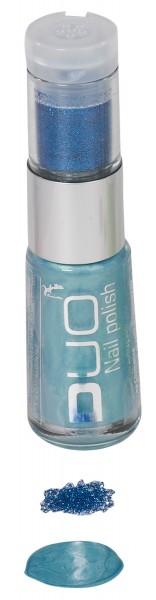 Blau Funkelnder Nagellack Mit Glitterpuder