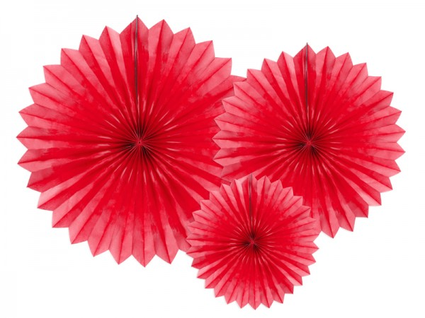 3 paper rosettes party star red