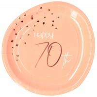 70. Geburtstag 8 Pappteller Elegant blush roségold