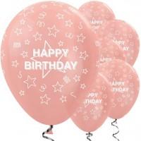 5 Roségoldene Birthday Luftballons 30cm