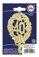 Goldene Jubiläumszahl 40 Geprägt 28cm