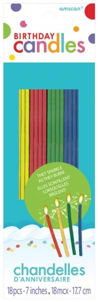 18 bougies scintillantes colorées 17,8 cm