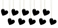 10 black heart gift tags 5 x 4.5cm