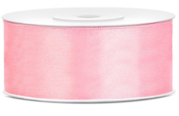 25m satin ribbon light pink 25mm wide