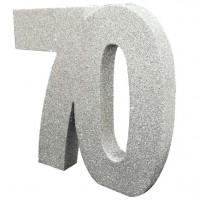 Silberne Zahl 70 Tischdeko glitzernd