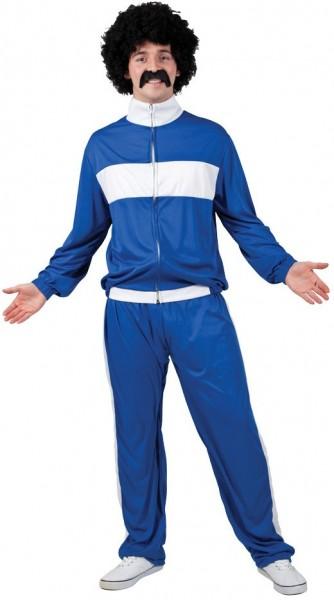 80er Jahre Retro Jogger in Blau-Weiß