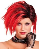 Rockige Perücke Rot-Schwarz Damen