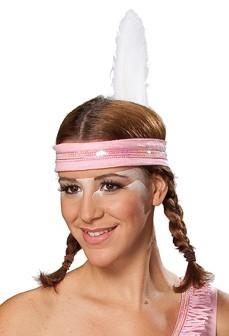 Glitzerndes Indianer Stirnband Rosa