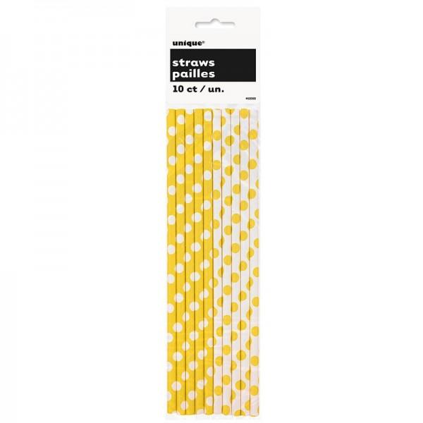 10 gepunktete Papier Strohhalme gelb weiß