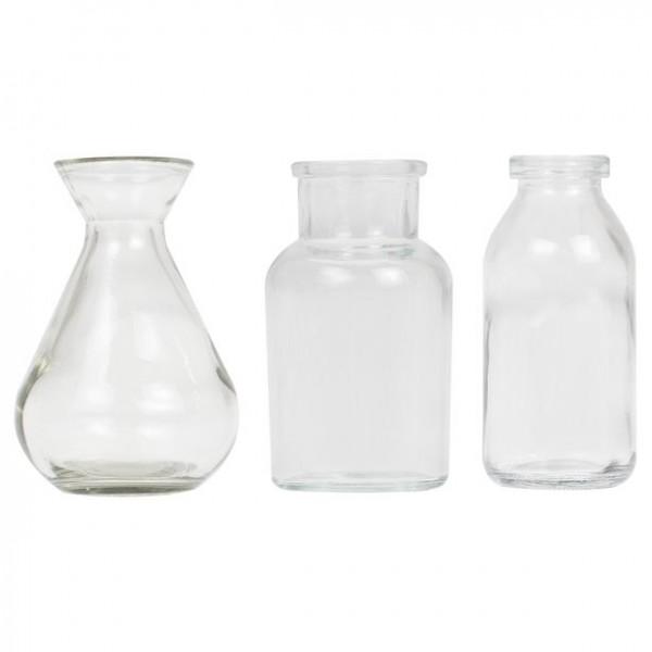 Mini vases en verre set 3 parties 10cm