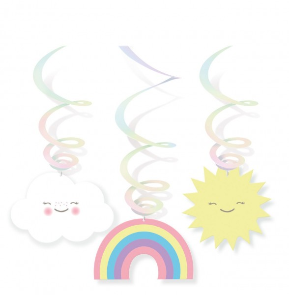 6 sweet cloud world spiral hangers