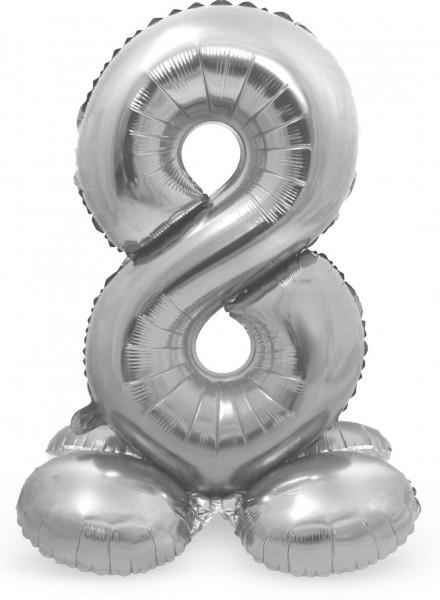Balon numer 8 srebrny 72cm