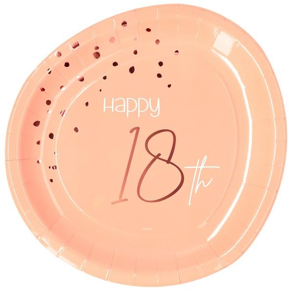 18e anniversaire 8 assiettes en papier blush élégant or rose