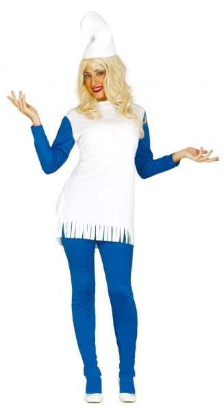 Blau-Weißes Zwergenkostüm für Damen