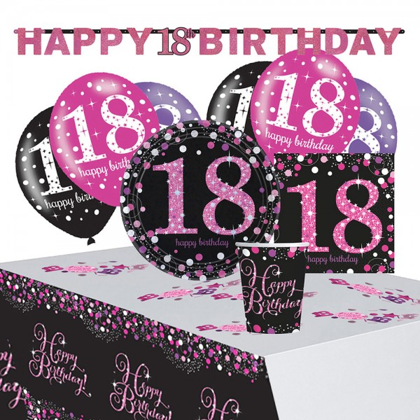 Pink 18th Birthday Deko Set 41-teilig