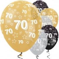 25 Latexballons 70. Geburtstag gold mit Sternen 30cm