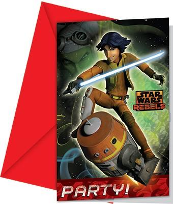 6 Star Wars Rebels Space Battle Invitación Tarjetas