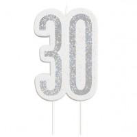 30. Geburtstag glitzernde Kerze