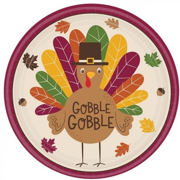8 Papieren Thanksgiving kalkoen borden 25cm