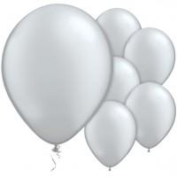 100 Silberne metallic Ballons Pasison 28cm